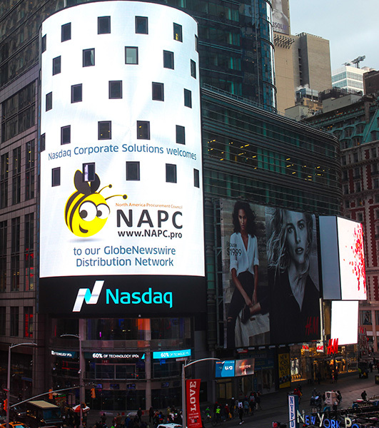 NAPC logo on Nasdaq Tower in Times Square, New York City, to announce the partnership.